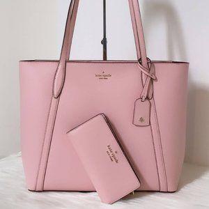 New Kate Spade Cara Large Leather Tote Wallet Set